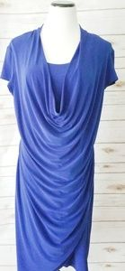 Joseph Ribkoff Blue Rouched Dress Sz: 16